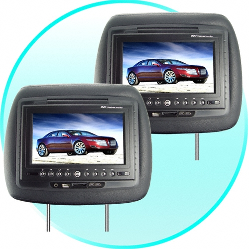 7 Inch LCD Car Headrest DVD Player + FM Transmitter -Pair -Black