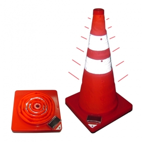 Foldable Road Warning Cylinder with Flashing Warning Light and Solar Charger
