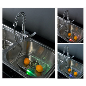 Single Handle Chrome Centerset LED Pull Out Kitchen Faucet
