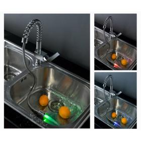 Single Handle Chrome Centerset LED Pull Out Kitchen Faucet